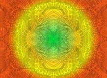 Ornamento psicadélico decorativo ensolarado brilhante, no fundo alaranjado amarelo verde do inclinação das cores Mão do vetor tir ilustração do vetor