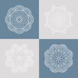 Ornamento quatro circular bonito em um fundo colorido mandala Flores estilizados Elementos decorativos do vintage ilustração do vetor