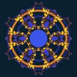 Ornamento redondo de seis elementos complicados da fantasia ilustração stock