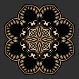 Ornamento redondo del oro del vector Imagenes de archivo