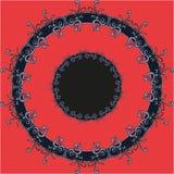Ornamento redondo do olho do teste padrão vermelho da mandala do aluno ilustração do vetor