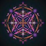 Ornamento redondo Elemento del círculo de la flor Vintag dibujado mano Imagenes de archivo