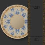 Ornamento redondo grego à moda em um fundo escuro Teste padrão elegante do vintage ilustração do vetor