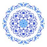Ornamento redondo indiano, teste padrão floral calidoscópico, mandala Projeto feito no estilo e nas cores do gzhel do russo Fotografia de Stock