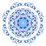 Ornamento redondo indio, estampado de flores caleidoscópico, mandala Diseño hecho en el estilo y los colores rusos del gzhel Imagen de archivo libre de regalías