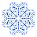 Ornamento redondo indio, estampado de flores caleidoscópico, mandala Diseño hecho en el estilo y los colores rusos del gzhel Fotos de archivo libres de regalías