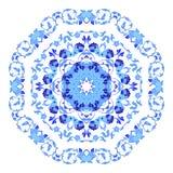 Ornamento redondo indio, estampado de flores caleidoscópico, mandala Diseño hecho en el estilo y los colores rusos del gzhel Imagenes de archivo