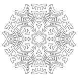 Ornamento redondo para livros para colorir Teste padrão preto, branco Laço, floco de neve ilustração royalty free