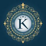 Ornamento retro da folha O molde dourado do logotipo do monograma com floresce elementos elegantes caligráficos do vintage ilustração stock