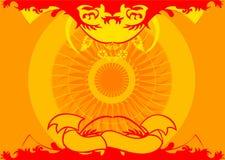 Ornamento rojo amarillo Fotos de archivo
