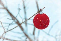 ornamento rojo de la bola del árbol de navidad del terciopelo con las estrellas en el fondo blanco de la nieve Fondo con pequeño, foto de archivo libre de regalías