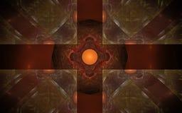 Ornamento rojo de la imagen de fondo del ejemplo de formas geométricas bajo la forma de cristales de rubíes en un fondo negro Fotos de archivo libres de regalías