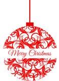 Ornamento rojo de la Navidad que dice Feliz Navidad foto de archivo libre de regalías