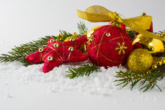Ornamento rojo de la paja de la Navidad fotos de archivo libres de regalías