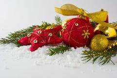 Ornamento rosso della paglia di Natale Fotografie Stock Libere da Diritti