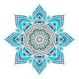 Ornamento rotondo decorativo blu disegnato a mano isolato su bianco Fotografia Stock Libera da Diritti