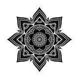 Ornamento rotondo decorativo disegnato a mano nero isolato su bianco Fotografie Stock