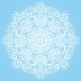 Ornamento rotondo del pizzo sul blu Fotografia Stock Libera da Diritti