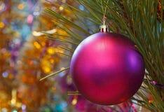 Ornamento roxo da bola do Natal Fotografia de Stock Royalty Free