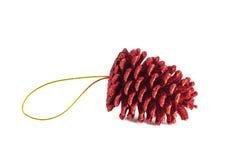 Ornamento scintillante di Natale di pinecone Immagine Stock