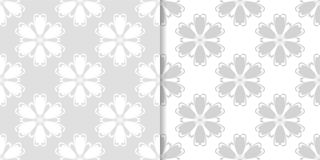 Ornamento sem emenda florais cinzentos e brancos da luz - Fotografia de Stock