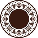 Ornamento Tazas y flores de café, dispuestas en un círculo Fotografía de archivo libre de regalías