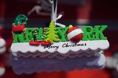 Ornamento temáticos do Natal de New York City na exposição em Manhattan Fotografia de Stock Royalty Free