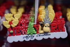 Ornamento temáticos do Natal de New York City na exposição em Manhattan Fotos de Stock