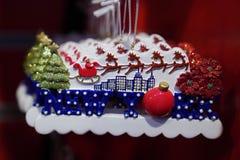Ornamento temáticos do Natal de New York City na exposição em Manhattan Fotos de Stock Royalty Free
