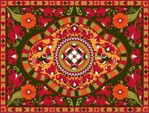 Ornamento tradicional do russo com pássaros e flores da região de Severodvinsk Imagem de Stock