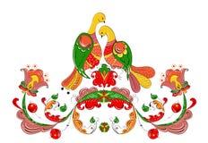 Ornamento tradicional ruso con los pájaros del paraíso y las flores de la región de Severodvinsk Imagen de archivo libre de regalías