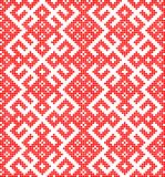 Ornamento tradicional sem emenda do russo feito por círculos no vermelho ilustração do vetor