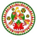 Ornamento tradizionale russo con gli uccelli di paradiso ed i fiori della regione di Severodvinsk Immagine Stock