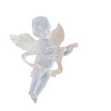 Ornamento transparente del ángel para el árbol de navidad, alas, cantando, colgando, ascendente aislada, cercano Imágenes de archivo libres de regalías