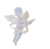 Ornamento transparente do anjo para a árvore de Natal, asas, cantando, pendurando, ascendente isolado, próximo Imagens de Stock Royalty Free