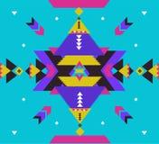 Ornamento tribal del vector Modelo africano inconsútil Alfombra étnica con los galones y los triángulos Estilo azteca geométrico ilustración del vector