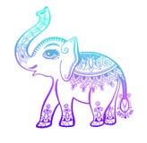 Ornamento tribal, tatuaje étnico gráfico del elefante del vintage indio ilustración del vector