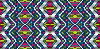 Ornamento tribale di vettore Reticolo africano senza giunte Tappeto etnico con i galloni Stile azteco illustrazione di stock
