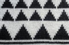 Ornamento tricottante in bianco e nero Fotografia Stock