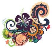 Ornamento tropical diseñado con el hibisco Imagen de archivo libre de regalías