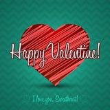 Ornamento Valentine Greetings Card Elementi di vettore Progettazione decorativa isolata del cuore EPS10 Immagini Stock Libere da Diritti