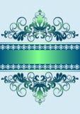 Ornamento verde del raso con le bande ed il nastro Immagini Stock