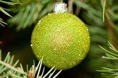 Ornamento verde della palla Fotografie Stock