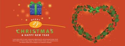 Ornamento verde rojo del corazón del ramo de la guirnalda para la bandera del evento de la Navidad Imágenes de archivo libres de regalías