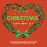 Ornamento verde rojo del corazón del ramo de la guirnalda para la Navidad event04 Fotografía de archivo libre de regalías