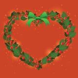 Ornamento verde rojo del corazón del ramo de la guirnalda para la Navidad event05 Imagen de archivo libre de regalías