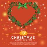 Ornamento verde rojo del corazón del ramo de la guirnalda para la Navidad event01 Foto de archivo