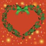Ornamento verde rojo del corazón del ramo de la guirnalda para la Navidad event03 Foto de archivo