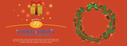 Ornamento verde rojo del ramo de la guirnalda para la bandera del evento de la Navidad Imagenes de archivo