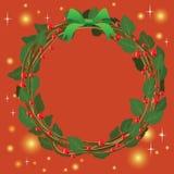 Ornamento verde rojo del ramo de la guirnalda para la Navidad event03 Imágenes de archivo libres de regalías